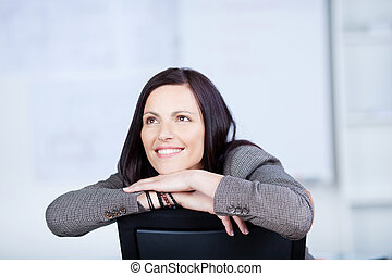 Looking up gesture - Close up portrait of businesswoman in a...
