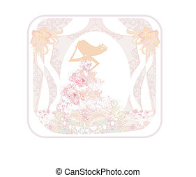 Abstract Beautiful floral bride - silhouette woman