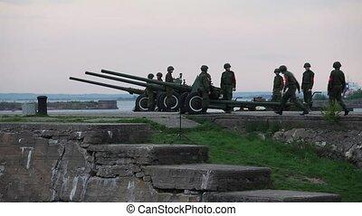 artillery men - HD1080: artillery battery. artillery men....