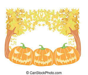 Halloween pumpkins with fall leaves