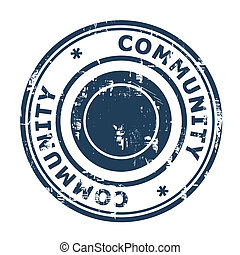 Community stamp isolated on a white background.