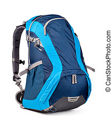 blue backpack, isolated over white