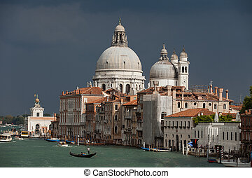 Venice - the view on Canal Grande and Salute before the...