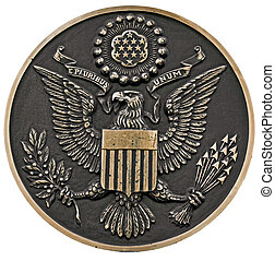 seal of the us - close up of a bronze plaque of a great seal...