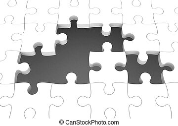 White puzzle pieces with gap, three-dimensional rendering