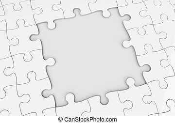 Puzzle square gap - Grey puzzle with square gap,...