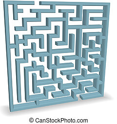 Upright Blue Maze Puzzle on Shadow - An upright 3D blue Maze...