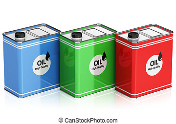 The oil cans isolated on white background
