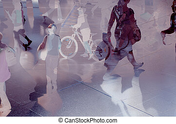 Modern and future city - Abstract modern city with people...