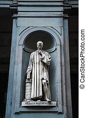 Statue of Nicollo Macchiavelli, the famous Italian...