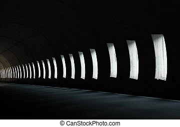 Tunnel - Lights inside a dark road tunnel