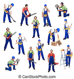 Workers from the construction industry - with various tools,...