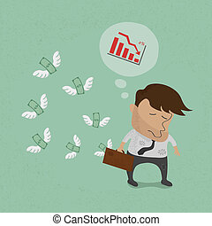 Businessman fail and money flying , eps10 vector format