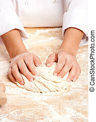chef working the dough