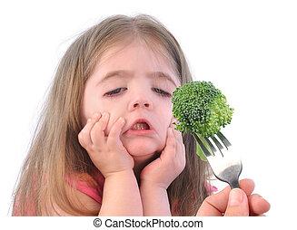 niña, sano, bróculi, dieta, blanco