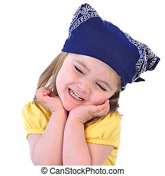 Little Girl with Bandanna Hat on White