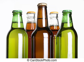 Beer bottles against a white background