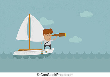 Business man sailing and looking future , eps10 vector...