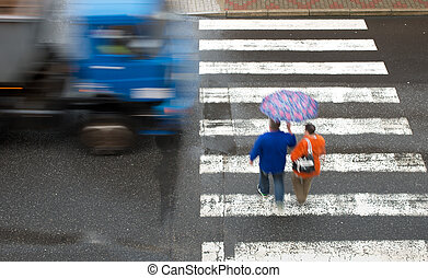 pedestrian crossing with truck
