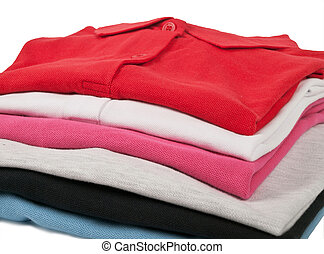 Colorful polo t-shirts - stack of man's and woman's polo t...