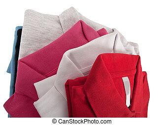 Colorful t shirts - stack of man's and woman's polo t shirts