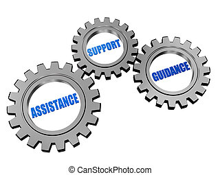 assistance, support, guidance in silver grey gears