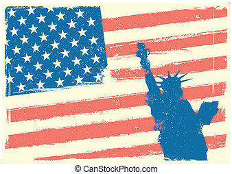 Statue of Liberty in front of Stars and Stripes