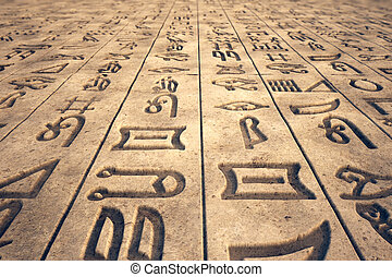 Hieroglyph. - Image that presents ancient writings,...