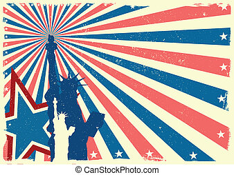 Statue of Liberty on patriotic grungy burst background