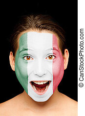 girl with mexican flag on her face - portrait of girl with...