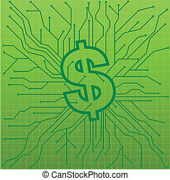 circuit board - illustration of a green circuit board with a...