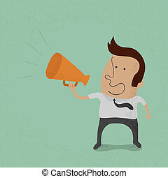 Business man cheer with a megaphone , eps10 vector format