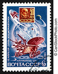Franqueo, estampilla,  1973, luna,  lunokhod,  2, Rusia
