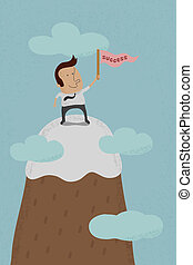 Businessman standing on mountain - Businessman standing on...