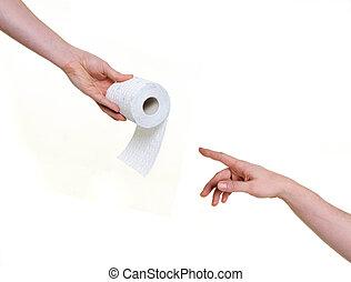 ajudando, mão, Banheiro, papel