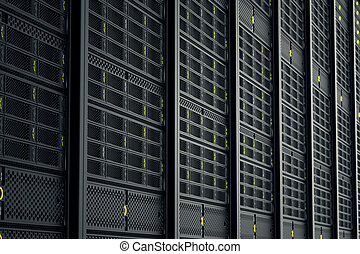 Server room. - Image of data servers while working. Yellow...