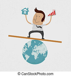 Businessman handing Graph and home