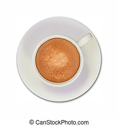 cup of coffee - white coffee cup top view on a white...