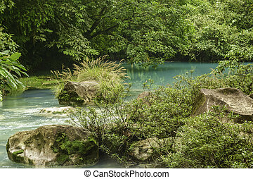 Beautiful Rio Celeste - Chemicals contained within the...