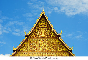 Buddhist temple roof, Laos.