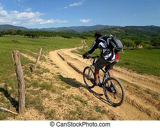 mountain biking - summer landscape and mountain biking