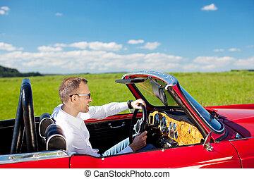 Businessman excursion - Portrait of businessman riding a car...