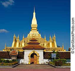 Pha That Luang stupa in  Vientiane, Laos.