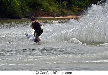 Boy Waterskiing