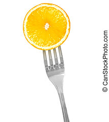 Slice of orange on a fork