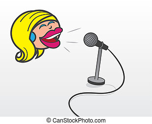 Floating Head Woman With Microphone