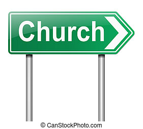 Church sign. - Illustration depicting a sign directing to...