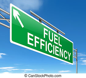 Fuel efficiency concept - Illustration depicting a sign with...