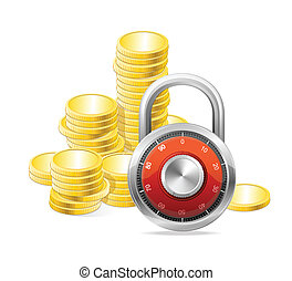 Security Concept. Vector padlock and money