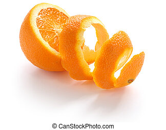 orange peel - orange rind, on white background